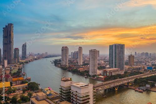 Fototapety, obrazy: Aerial view of Bangkok city at evening, Chaopraya River, bangkok, Thailand