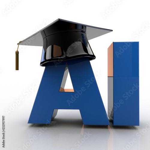 Fotografie, Obraz  3D illustration of Artificial Intelligence text wearing a graduation hat