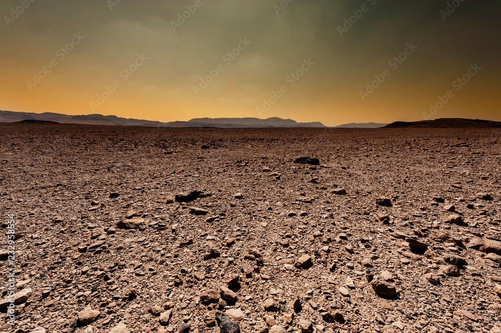 Fantastic sunrise in the desert.