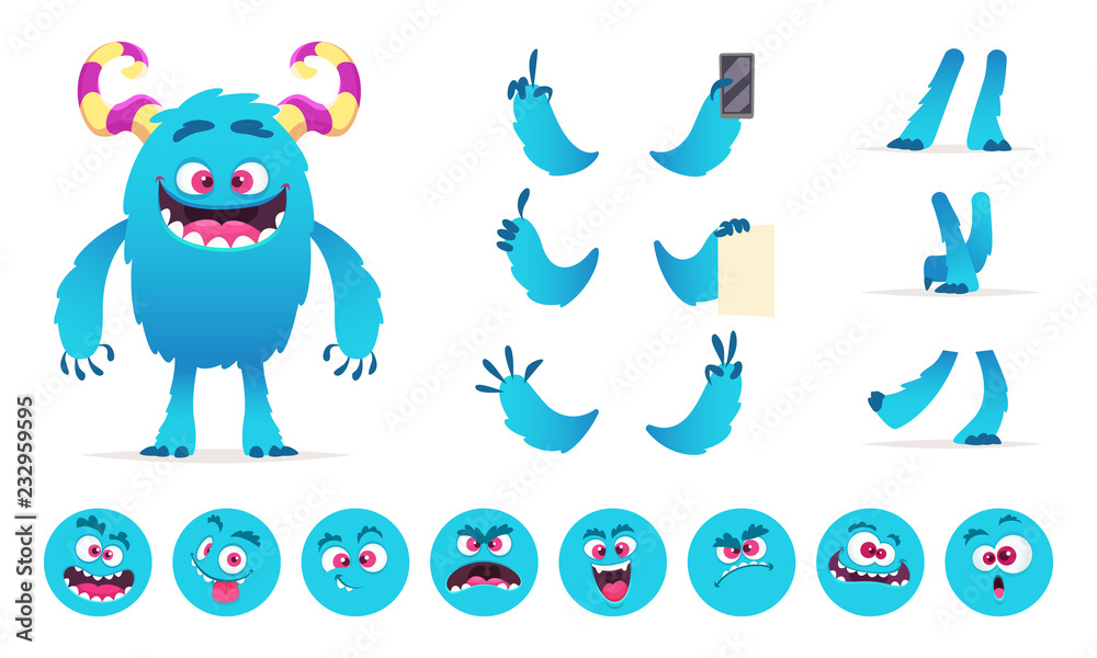 Fototapeta Monster constructor. Eyes mouth emotions parts of cute funny creatures for games vector design creation kit for kids hallowen party. Illustration of monster halloween body, funny creation character