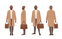 African American Bald Man Dressed In Elegant Trench Coat Or Outerwear. Male Cartoon Character Isolated On White Background. Front, Side And Back Views. Set Of Outfits. Flat Vector Illustration.