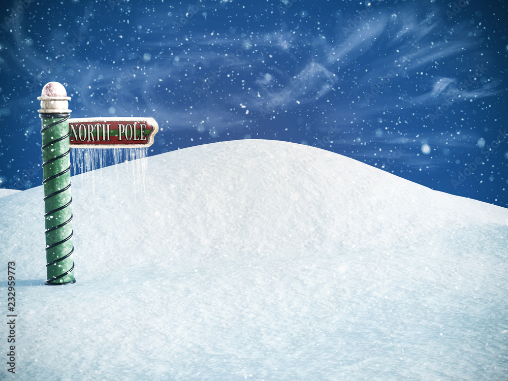 Fototapety, obrazy: 3D rendering of a north pole sign.
