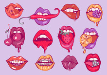 Pop Art Sexy Lips Vector Set.