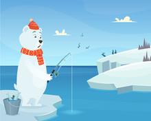 White Bear Background. Iceberg Ice Winter Animal Standing Vector Character In Cartoon Style. Bear Catch Fish, Animal Cartoon Fishing Illustration