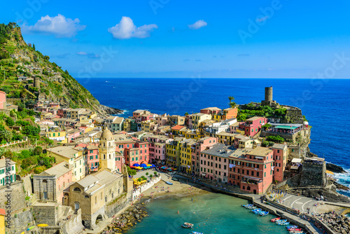 Poster Northern Europe Vernazza - Village of Cinque Terre National Park at Coast of Italy. Beautiful colors at sunset. Province of La Spezia, Liguria, in the north of Italy - Travel destination and attractions in Europe.