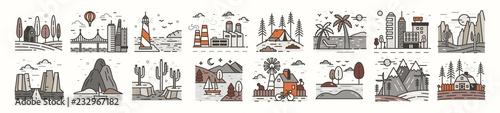 Fotomural Bundle of landscape icons or symbols
