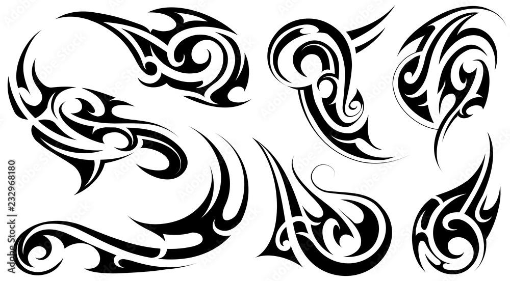 Fototapeta Tribal art tattoo set