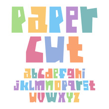 Font Paper Cut Lower Case Pastel Colors