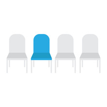 Vacant Chairs Vector. Job Recruiting Concept. Empty Vacant Place Vacancy