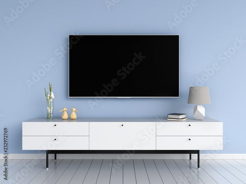 Fényképezés  Widescreen TV and sideboard in living room, 3D rendering