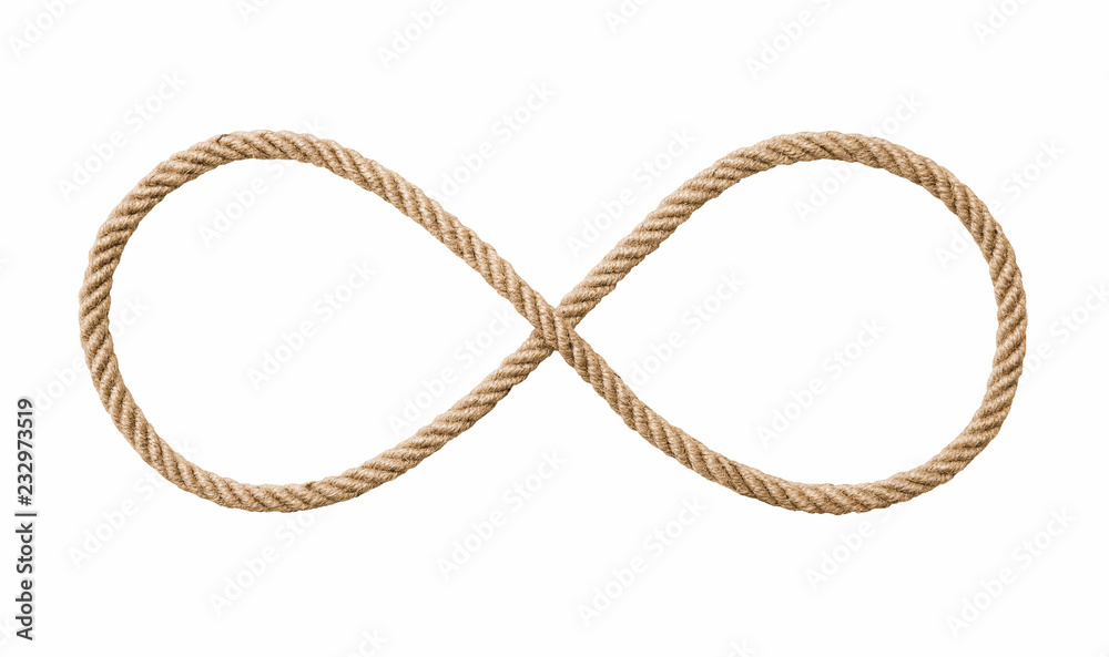 Fototapety, obrazy: Symbol of infinity -Rope in the shape of a number eight isolated on white background, included clipping path