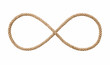 Symbol of infinity -Rope in the shape of a number eight isolated on white background, included clipping path