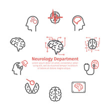 Neurology Center Round Banner. Line Icons. Clinic Icons. Brain Signs. Vector Illustration