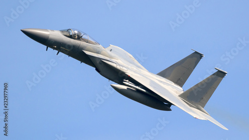 American air force military fighter jet aircraft in flight Fototapeta