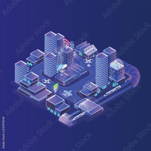 Smart city model Fototapet