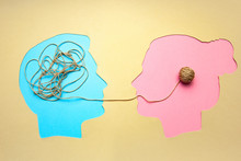 Two People Communicate Face To Face, Man And Woman. Concept Decoding And Understanding Problem Or Rational And Irrational Thinking, Conflict. Ordering Thoughts Into Structure