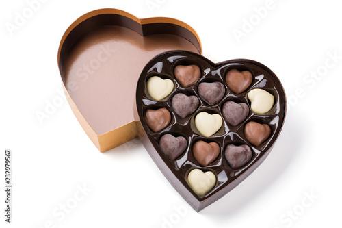 Fototapeta Box of Heart Shaped Chocolates. Valentines Candy obraz