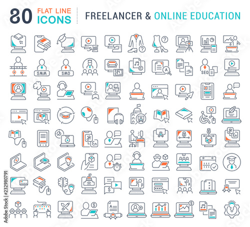 Staande foto Wanddecoratie met eigen foto Set Vector Line Icons of Freelancer and Online Education.
