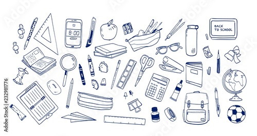 Fotografía Bundle of school supplies or stationery hand drawn with contour lines on white background