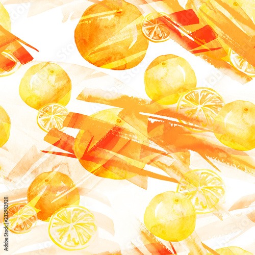 Watercolor seamless background, blot, blob, splash of white, orange, yellow  paint. Watercolor spot, abstraction. Tropical fruits, orange, mandraine, lemon, splash of paint, movement. Abstract. - 232982920