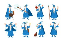 Collection Of Old Wizard Making Magic Isolated On White Background. Bundle Of Elderly Sorcerers Or Fairytale Magicians Practicing Wizardry. Colorful Vector Illustration In Flat Cartoon Style.
