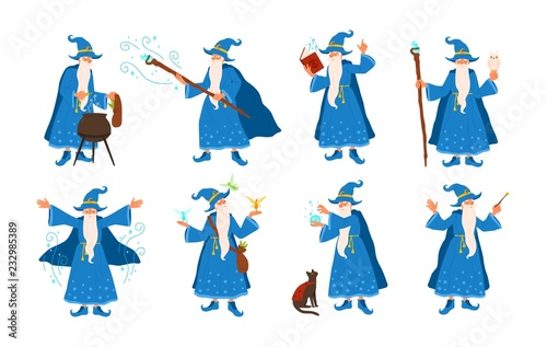 Collection of old wizard making magic isolated on white background Wallpaper Mural