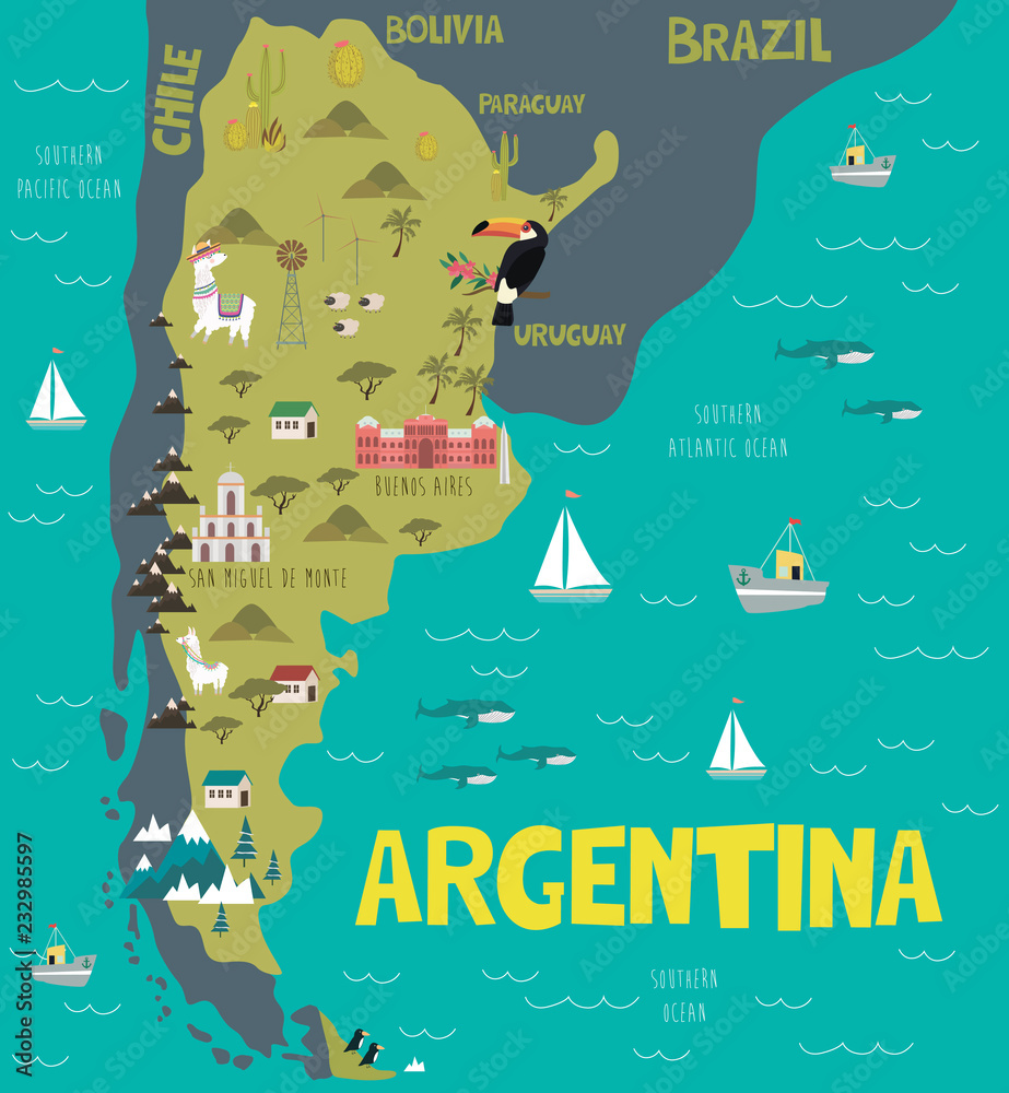 Illustration map of Argentina with nature, animals and ...