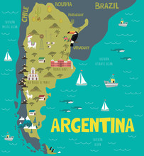 Illustration Map Of Argentina With Nature, Animals And Landmarks. Editable Vector Illustration