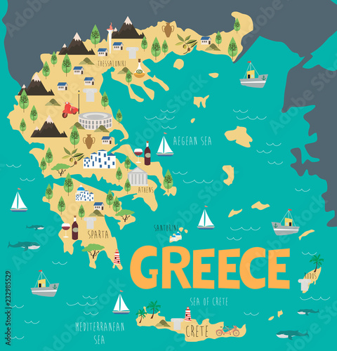 Canvas Print Illustration map of Greece with nature, animals and landmarks