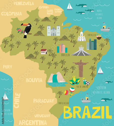 Fotografie, Obraz Illustration map of Brazil with nature, animals and landmarks