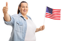 Corpulent Woman Holding USA Flag And Giving Thums Up