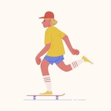 Skater Teenage Boy Or Skateboa...