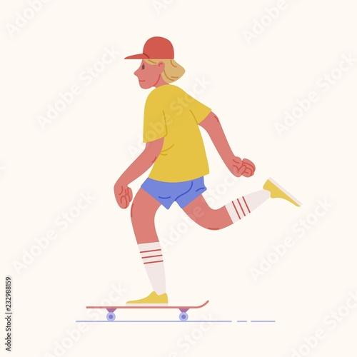 Valokuva Skater teenage boy or skateboarder riding skateboard