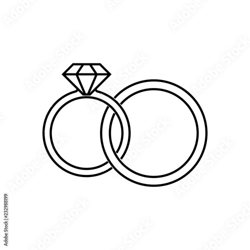 Wedding Rings Linear Icon Thin Line Illustration Interlocked