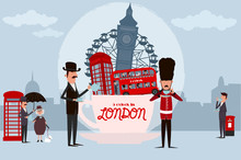 Cute Illustration Of London Landmarks In Cup Of Tea And Characters. 5 O'clock In London, Tea Time Card. Editable Vector Illustration