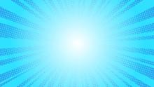 Comic Blue Sun Rays Background Pop Art Retro Vector Illustration Kitsch Drawing.