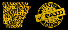 Golden Combination Of Dollar Mosaic Map Of Arkansas State And Paid Unclean Seal Stamp. Vector Seal With Unclean Rubber Texture And PAID Text.