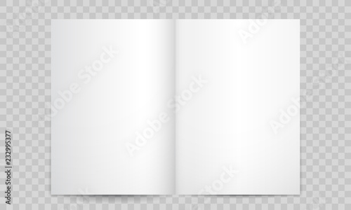 Obraz Book or magazine open blank pages. Vector isolated 3D vertical catalog brochure or A4 booklet mockup with empty pages - fototapety do salonu