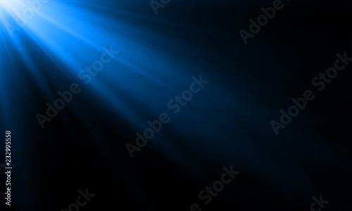 Obraz na plátně Blue neon light ray or sun beam vector background