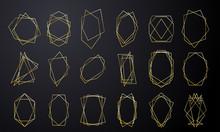 Gold Geometric Frames, Wedding Invitation Card Luxury Golden In Diamond Shape. Vector Modern Gold Foil Line Abstract Geometric Frames