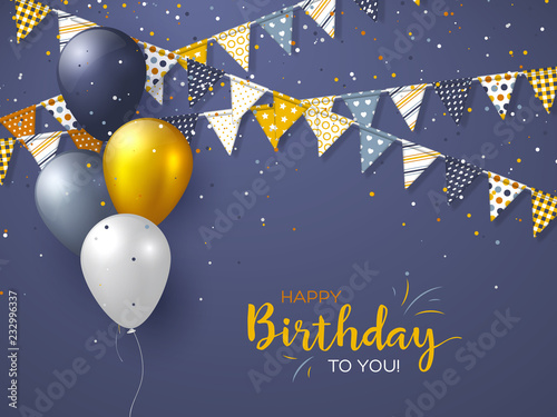 Canvas Print Happy Birthday holiday design for greeting cards
