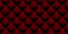 Royal Red Vintage Leather Upholstery Leather Background With Buttons Pattern. Vector Luxury Red Velvet Background With Button Texture Seamless Pattern