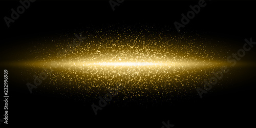 Obraz Gold light flash, glitter dust particles burst background, Vector golden shimmer flares glow line, magic glittering sparkles in black galaxy - fototapety do salonu
