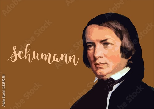 Fotomural  Great composers - Robert Schumann portait with vector signature