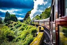 Glenfinnan Railway Viaduct With Train