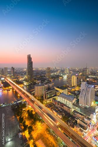 Aluminium Prints Rotterdam twilight bangkok city