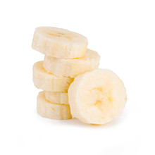 Stack Pile Of Banana Slices Isolated On The White Background