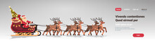 Santa In Sleigh With Reindeers...