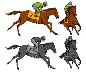 Fototapeta Horse racing. Jockey on racing horse running to the finish line. Race course
