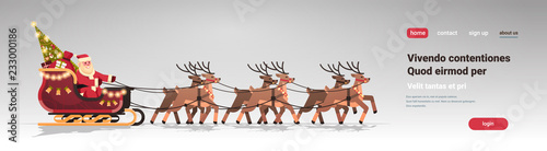 Santa in sleigh with reindeers merry christmas happy new year greeting card winter holidays concept isolated horizontal flat copy space vector illustration